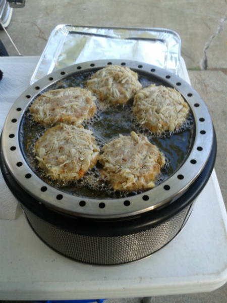 Cooking homemade crab cakes in Florida.
